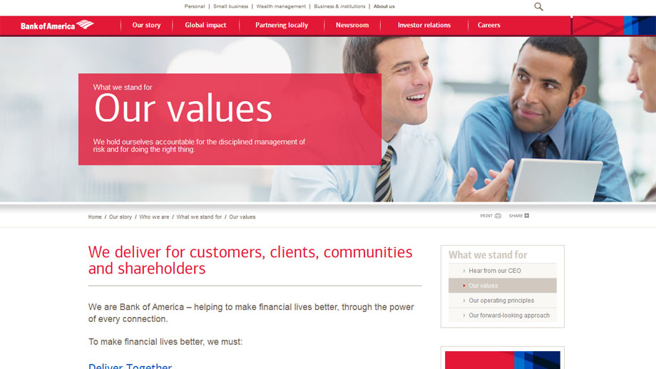 Bank of America, Mission, Vision, Values, Company Culture